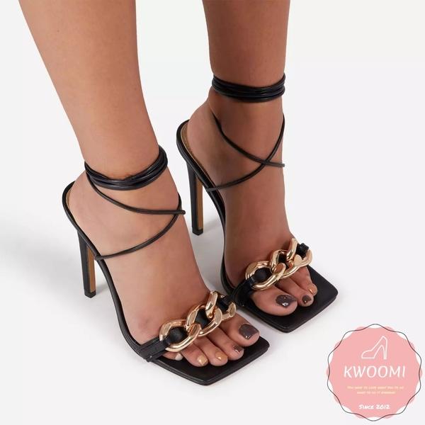 高跟涼鞋 鎖鏈五金點綴交叉綁帶羅馬風 高跟鞋 晚宴鞋 新娘鞋#*KWOOMI-A31