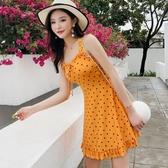 泳衣女連體新款韓國小香風保守遮肚泡溫泉波點學生游泳衣 週年慶降價