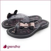 GRENDHA 金屬霓采蝴蝶夾腳鞋-女童-黑/玫瑰金