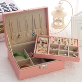 帶鎖雙層首飾盒公主歐式韓國木質飾品耳環首飾簡約耳釘戒指收納盒【全館上新】