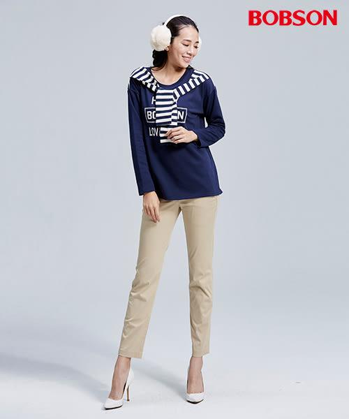 BOBSON 女款打摺小直筒色褲(8060-72)