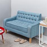 伊登 Bonby 拉扣造型復古布沙發(溫柔藍)溫柔藍