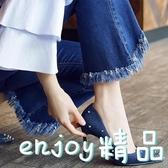 2018春秋尖頭高跟鞋淺口鉚釘藍色灰色牛仔布歐美時尚潮流女鞋單鞋