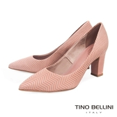 Tino Bellini 巴西進口幾何形象波浪線條尖楦跟鞋 _ 粉 B83245A 歐洲進口款