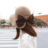 遮陽帽度假帽優雅蝴蝶結盆帽漁夫帽女夏季遮陽帽后開叉草帽沙灘帽可折疊-大小姐韓風館