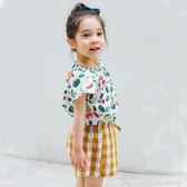 短袖套裝 韓國 Bebezoo 白底水果短袖上衣+黃色格紋蝴蝶結褲裙 套裝2件組 BE18-M-SET203-BE