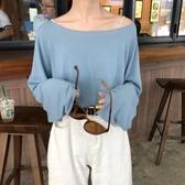 熱銷長袖T恤小清新薄款防曬上衣夏季新款韓版寬鬆百搭心機露肩罩衫長袖T恤女