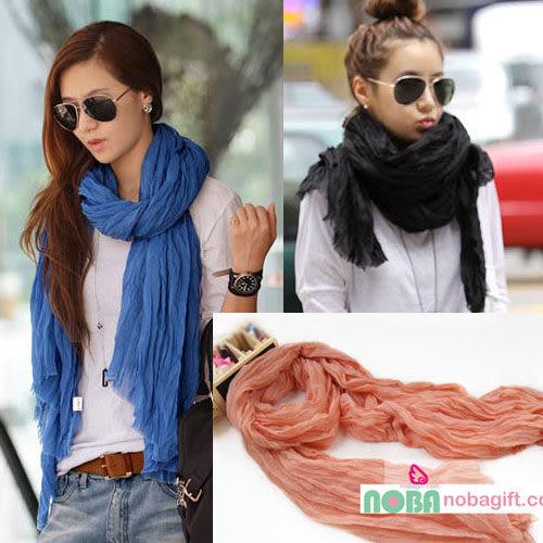 氣質皺褶巾 超大巴厘紗 純色披肩 皺皺圍巾 絲巾 超大尺寸