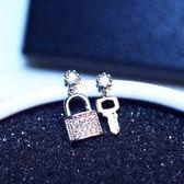 耳環 玫瑰金純銀鑲鑽-鑰匙設計生日聖誕節禮物女飾品73ca268【時尚巴黎】