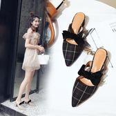 穆勒女鞋包頭半拖鞋女夏時尚外穿尖頭高粗跟穆勒鞋無後跟懶人鞋子 貝兒鞋櫃