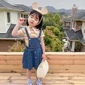 女童 兒童 散擺牛仔裙吊帶裙 吊帶裙 洋裝 牛仔裙 裙子 連身裙 女童 中童 橘魔法 現貨