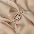 vintage中古風天然珍珠手鏈長方形小香風手表貝母小表盤小眾山茶【小獅子】