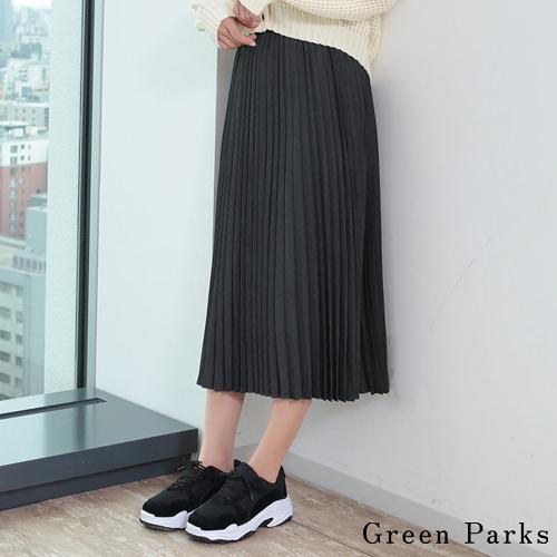 「Autumn」 素面手風琴百褶裙 - Green Parks