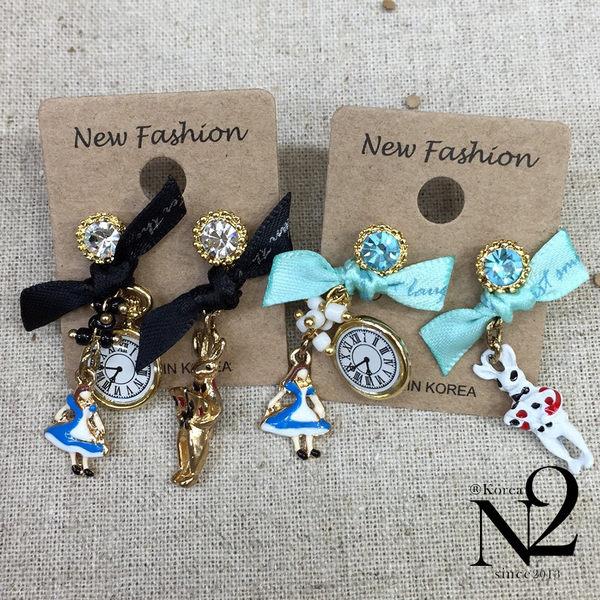耳環 正韓手作藍鑽鑽彩繪愛麗絲蝴蝶結耳環(水藍)N2i