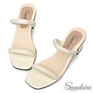 拖鞋 一字帶澎澎感簡約粗跟涼鞋-白