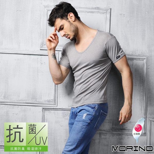 《MORINO》機能休閒抗菌防臭速乾短袖V領衫-灰色