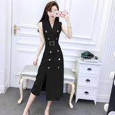 裙子夏女2018新款韓版氣質西裝領無袖修身顯瘦雙排扣開叉連衣裙潮