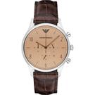 Emporio Armani 亞曼尼 Classic 紳士復刻經典計時手錶-香檳金x咖啡/ 43mm AR1878