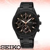 SEIKO精工專賣店 國隆 SNDV57P1 優雅都會三眼女錶 黑x玫瑰金 防水50米 視距儀 碼錶功能 全新品 保固