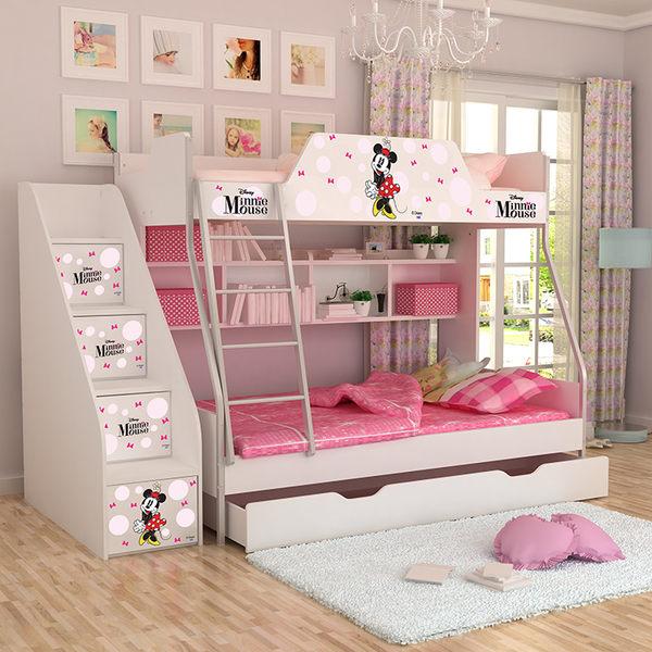 [首雅傢俬] MIT 迪士尼 單人 上下舖 米妮 高低床 雙層床 兒童床 書櫃床 上下床
