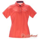 【wildland 荒野】女 涼感POLO本布領短袖上衣『橘紅』0A71605 T恤 POLO衫 上衣 短袖 排汗 休閒 戶外