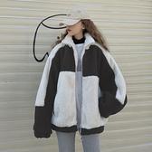 羊羔毛外套日系拼色加絨加厚立領衛衣女寬松上衣【少女顏究院】
