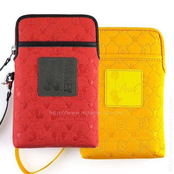 【Disney】 6吋通用質感雙層壓印皮革手機袋