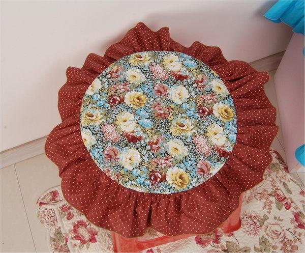 [超豐國際]田園布藝棉含芯圓形坐墊 椅墊 可拆洗餐椅墊