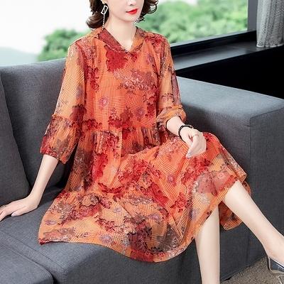 M-4XL大碼洋裝~8679# 2021夏季新品設計感連身裙氣質印花中長裙潮M5F-E076胖妞衣櫥