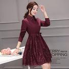 洋裝 襯衫式蕾絲連身裙-媚儷香檳-【D7...
