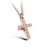 【5折超值價】  【316L西德鈦鋼】情人節禮物最新款經典時尚精美十字架鑲鑽造型女款鈦鋼項鍊