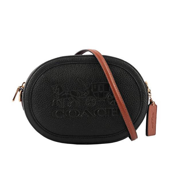 【COACH】荔枝皮革橢圓馬車相機包(黑色) C4056 IMSQN