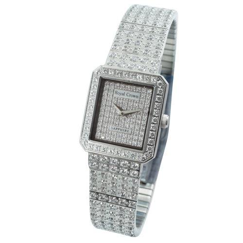 【Royal Crown】風華璀璨方型滿晶鑲鑽腕錶-銀/女錶/對錶/鑽錶