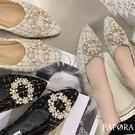 PAPORA高雅百搭平底休閒娃娃包鞋KK3388黑色/白色