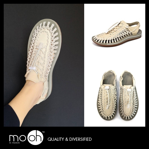 編織涼鞋 情侶款包頭羅馬厚底涼鞋-米色 mo.oh (歐美鞋款)
