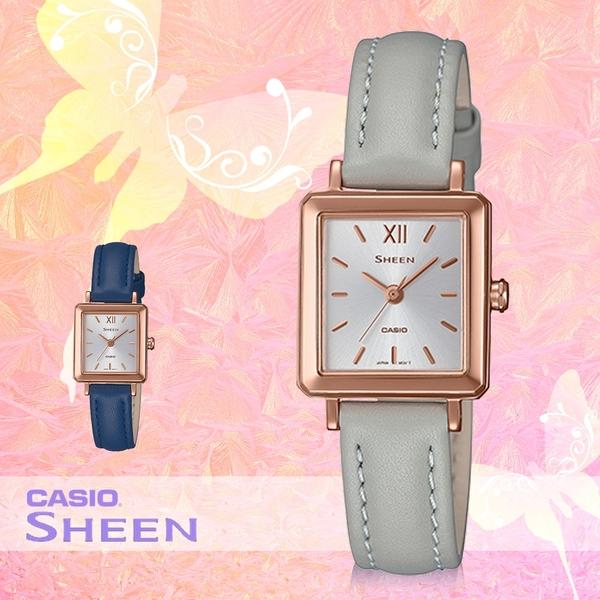 CASIO 卡西歐 手錶專賣店 SHE-4538GL-7B SHEEN 方形簡約女錶 皮革錶帶 防水50米 SHE-4538GL