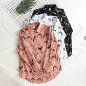 新年鉅惠新款bf風白襯衫女長袖寬鬆韓版百搭學生印花韓范春季棉麻襯衣 芥末原創