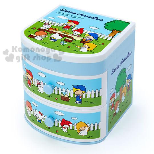 〔小禮堂〕Sanrio大集合 桌上型雙抽置物櫃《藍.花園》Sanrio70年代人物系列4901610-66937