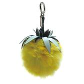 【台中米蘭站】全新品 FENDI 菠蘿造型皮草鑰匙圈/吊飾 (7AR577-黃)