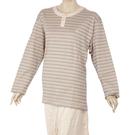 BURBERRY經典橫條紋全套女性居家服L(淡駝色)085510