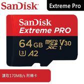 【免運費】SanDisk Extreme Pro Micro SDXC 64GB /A2/V30/UHS-I/讀170寫90/附轉卡(6114.QCY64.322) 64G