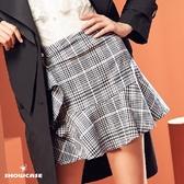 【SHOWCASE】格紋別針荷葉邊A字波浪襬短裙(灰)