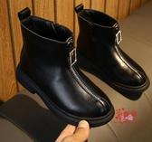 兒童馬丁靴 女童馬丁靴2019秋冬新色英倫中大童時尚短靴黑色皮靴加絨公主單靴 2色