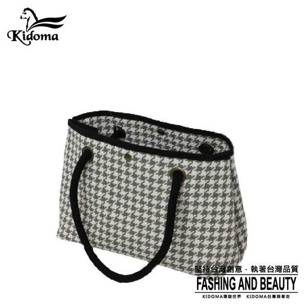 手提袋-編織水餃包-灰白千鳥-028S