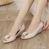 魚嘴單鞋 坡跟中跟粗跟單鞋女夏季韓版時尚護士媽媽涼鞋女 coco衣巷