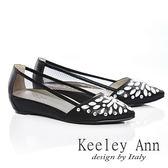 ★零碼出清★ Keeley Ann 經典風華~鑲鑽質感透膚內增尖頭鞋(黑色)