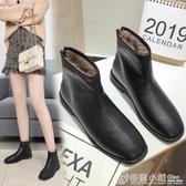 方頭短靴女黑色軟底加絨平底馬丁靴切爾西網紅瘦瘦靴 格蘭小舖