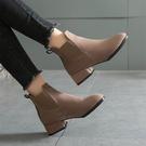 短靴-磨砂絨面低跟鬆緊開口顯瘦短靴 粗跟...