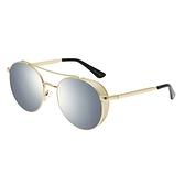 【FILA 斐樂】網格金屬邊飛行員太陽眼鏡-黑金款/8198M-GD/台灣總代理公司貨