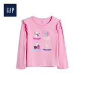 Gap女幼童柔軟荷葉邊趣味圖案長袖T恤519072-螢光粉